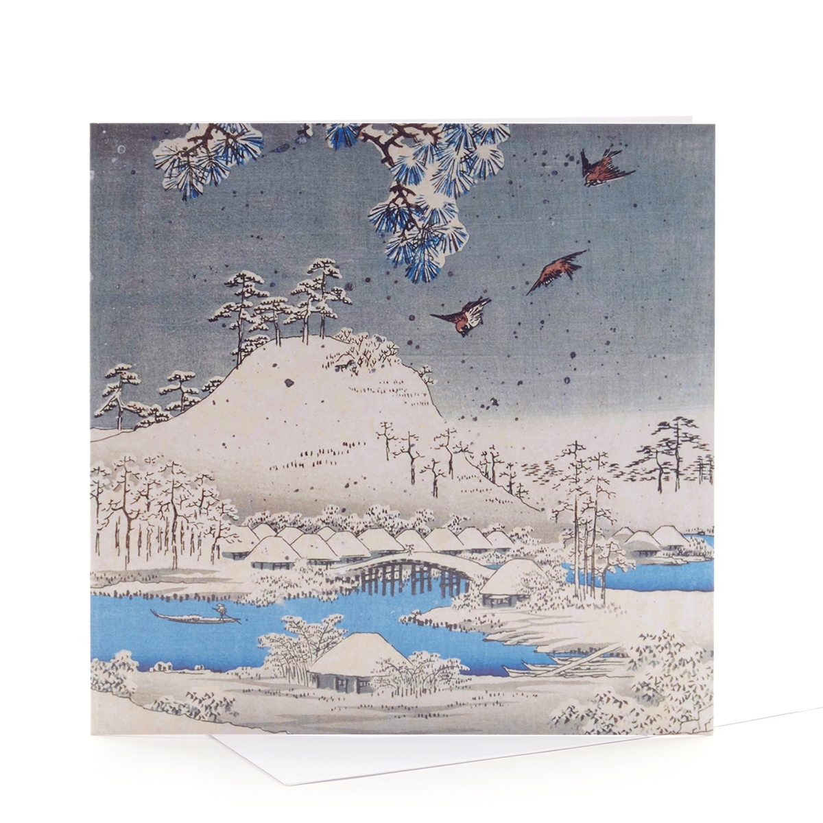 V&A Christmas cards Japanese snow scene (pack of 5)