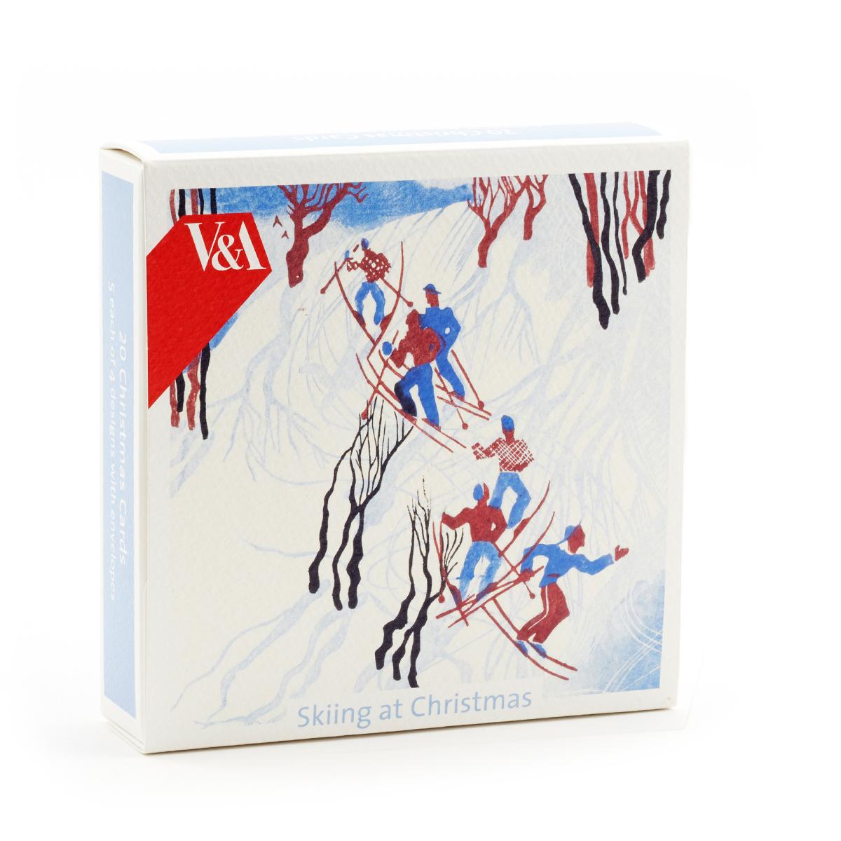 20 Skiing at Christmas cards set of 4 designs