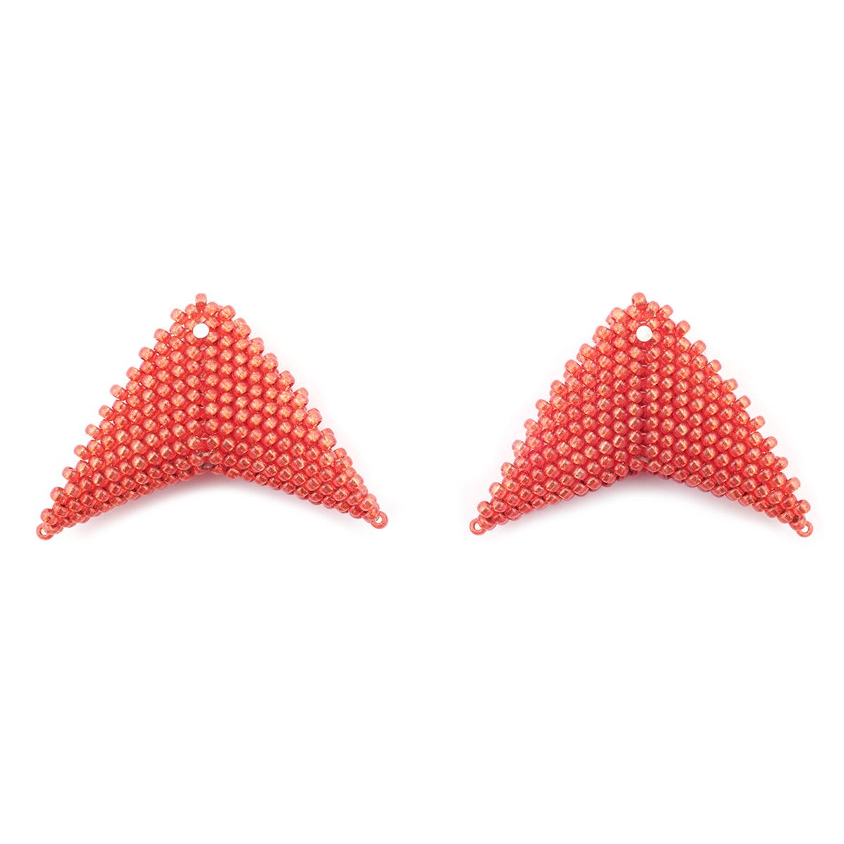 Red stud earrings by Beloved Beadwork