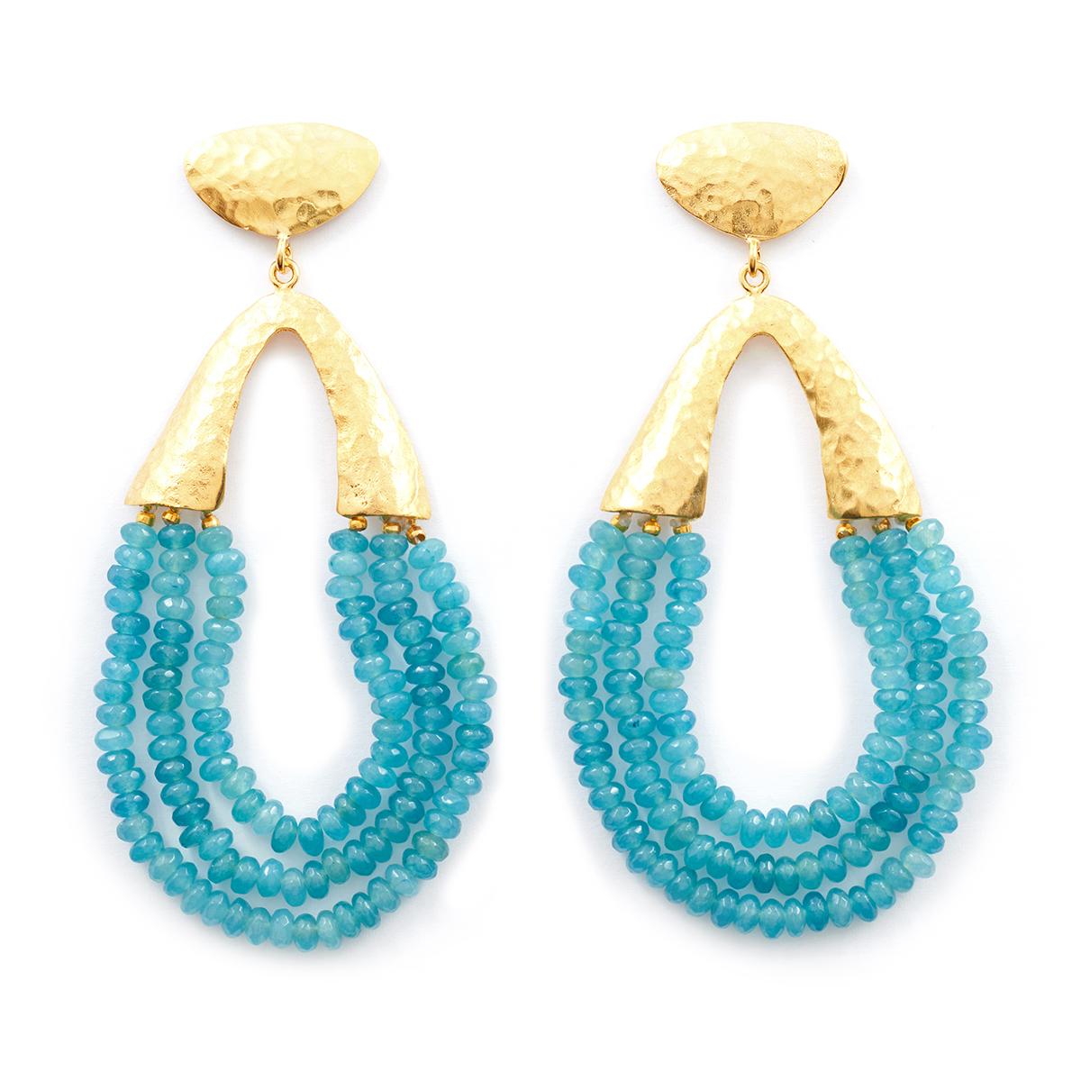 Beaded aqua earrings by Ottoman Hands