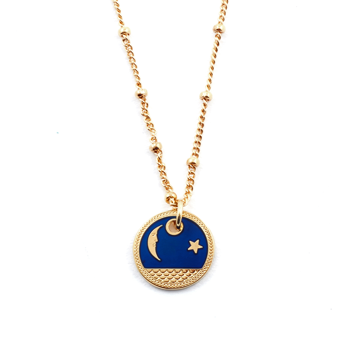 Enamel star and moon pendant by Mirabelle