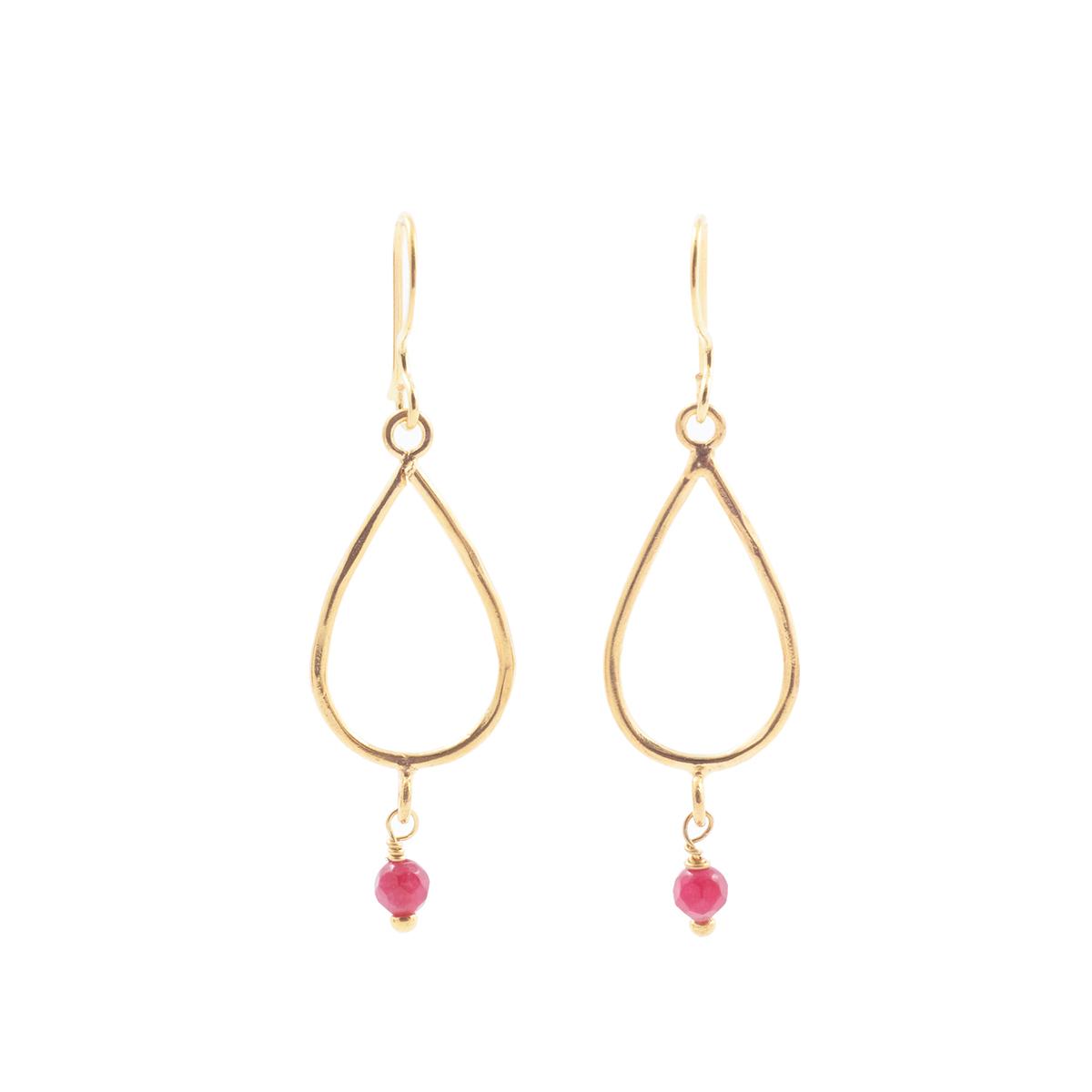 Red agate teardrop earrings by Mirabelle