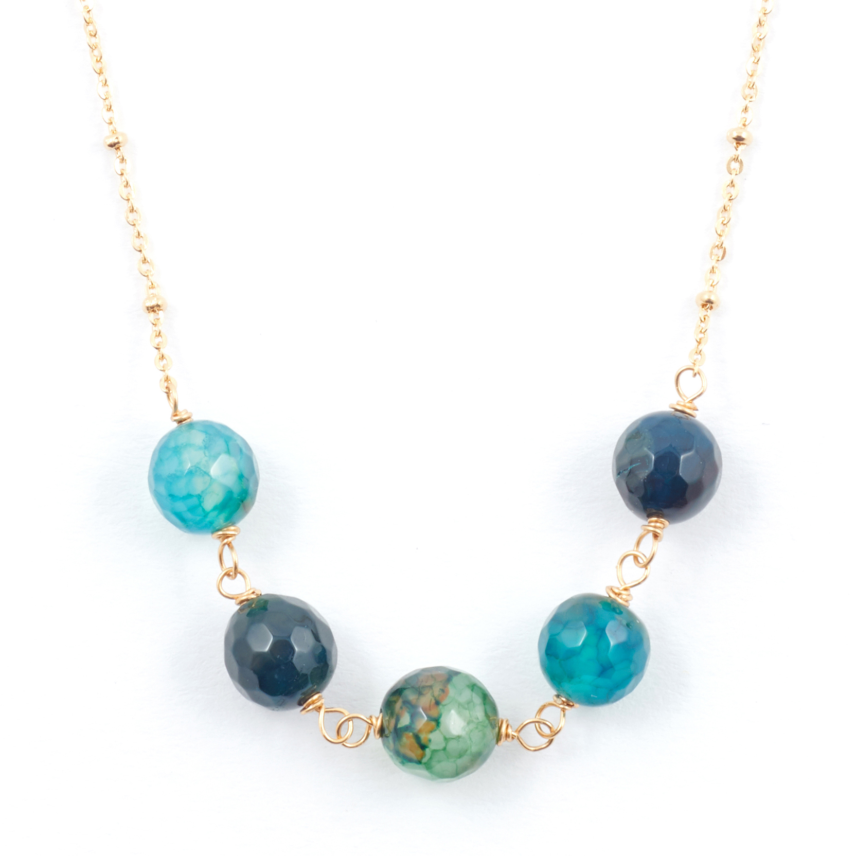 Teal blue agate necklace by Mirabelle