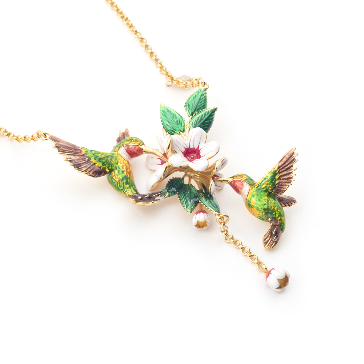 Hummingbird chain necklace by Bill Skinner