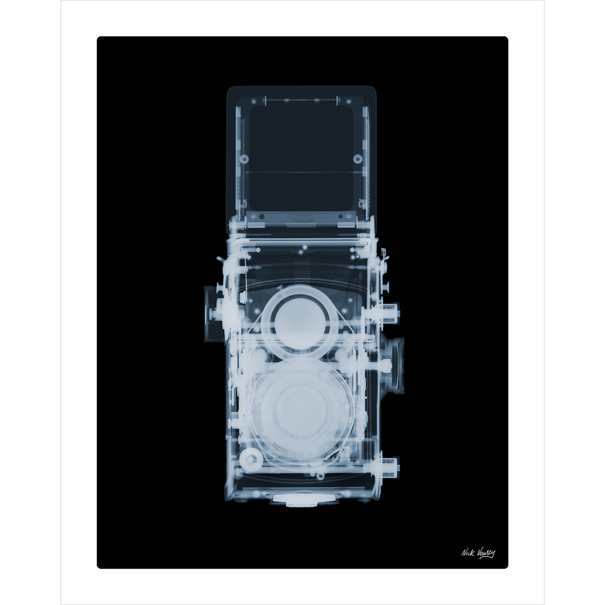 X-ray print of 1960s TLR camera by Nick Veasey