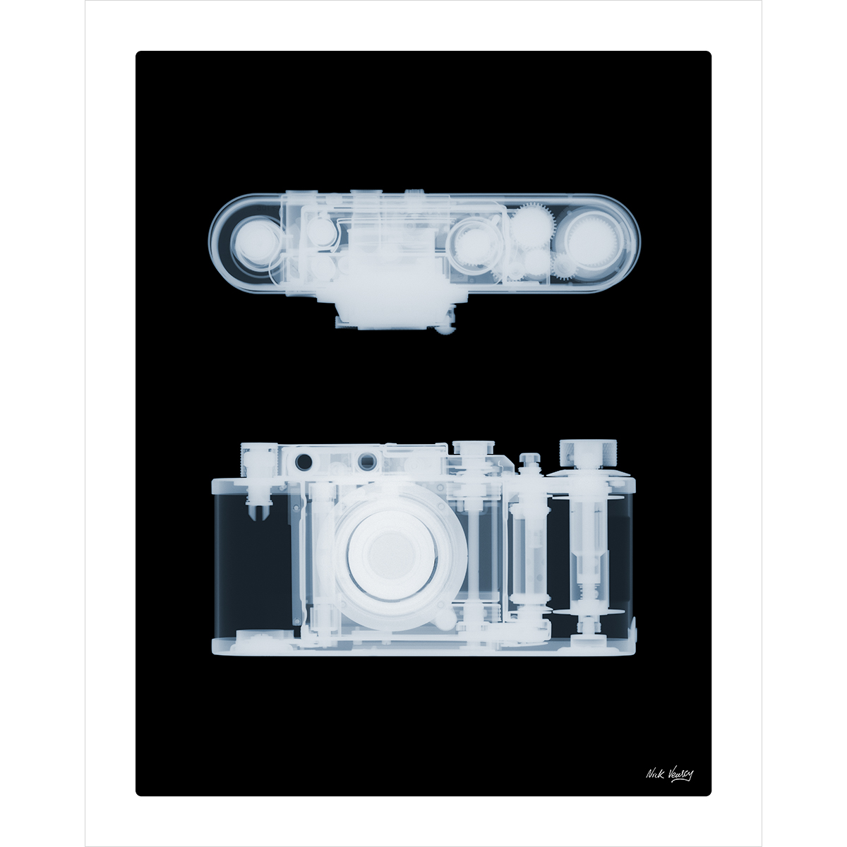 X-ray print of 1930s Leica II 35mm camera by Nick Veasey