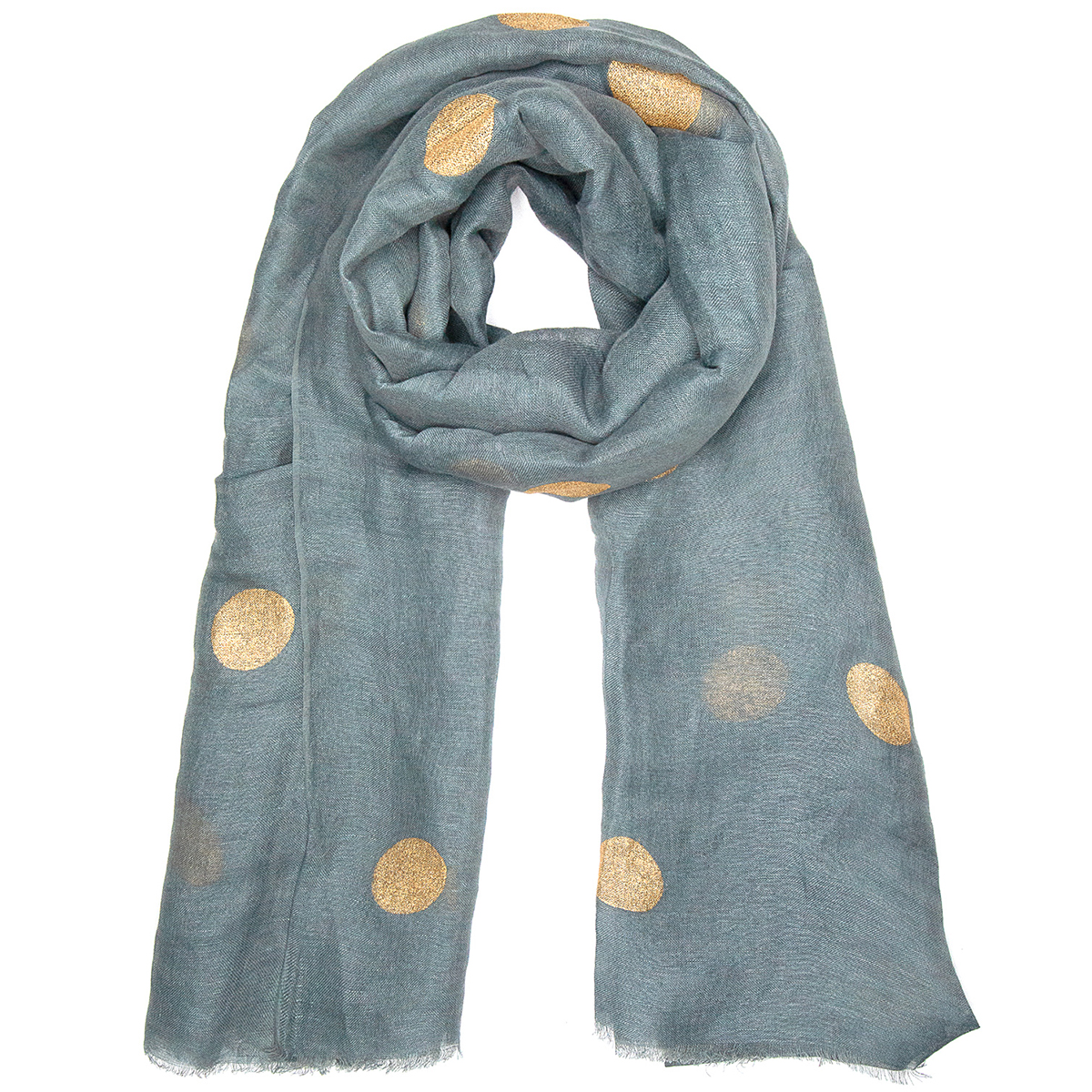 Gold dotted grey linen mix scarf