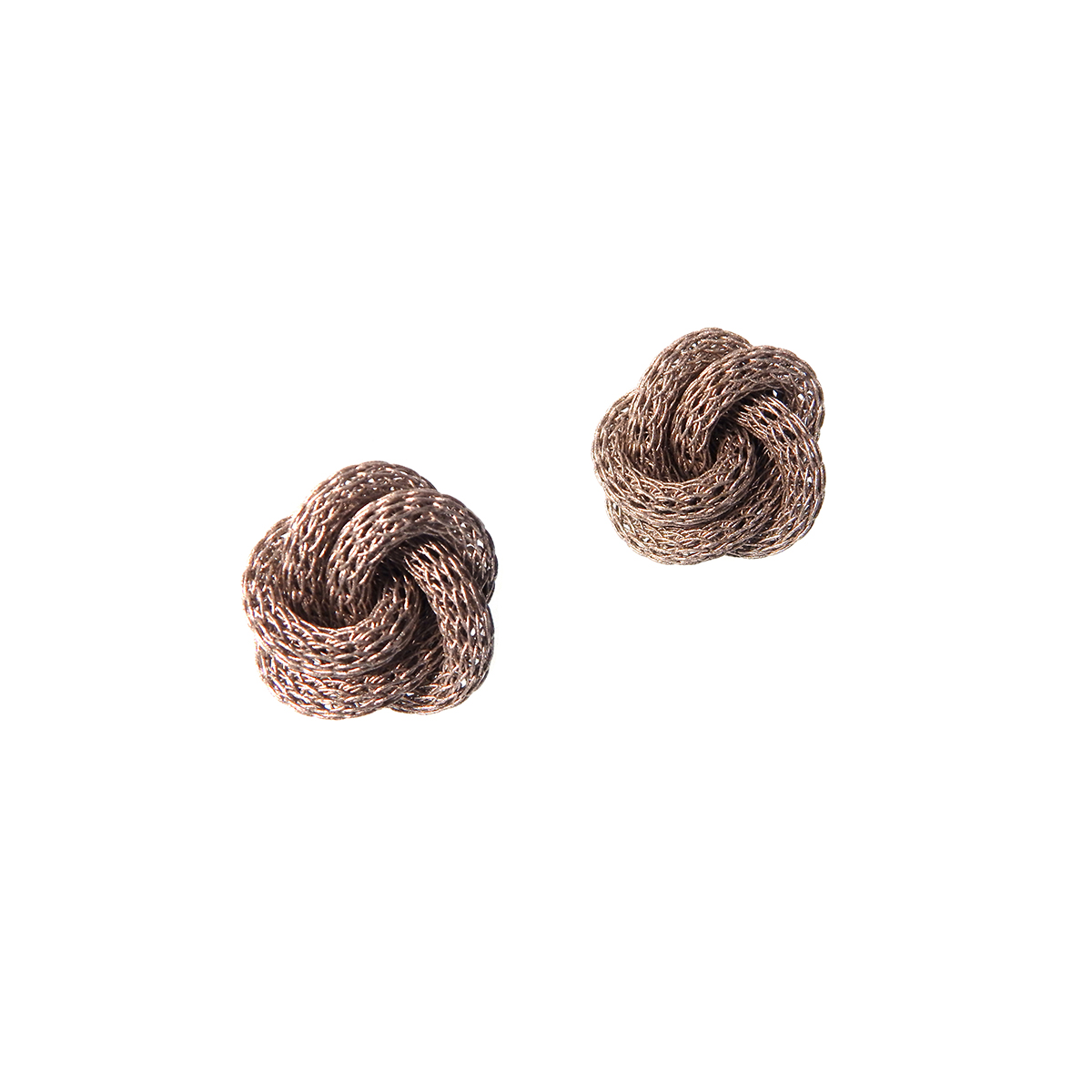 Silver mesh knot stud earrings by Sarah Cavender