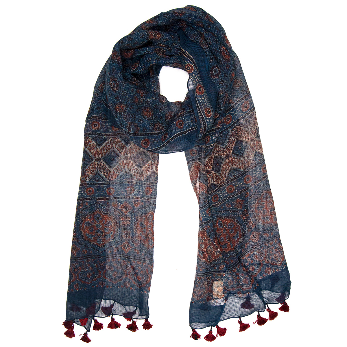 Blue sheer Ajrakh Scarf