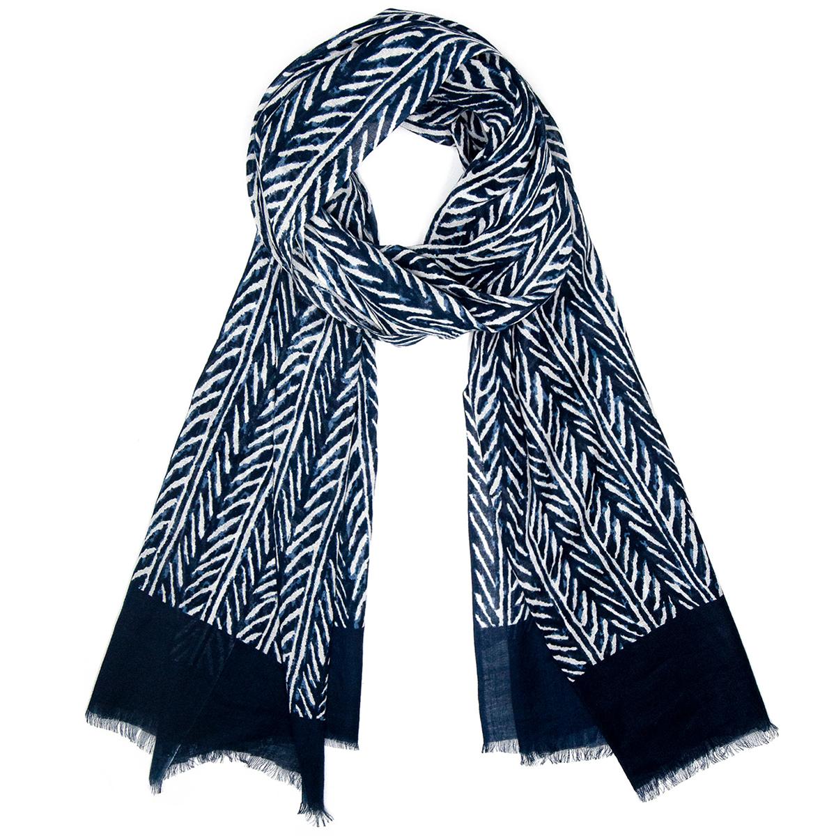 Indigo herringbone cotton scarf