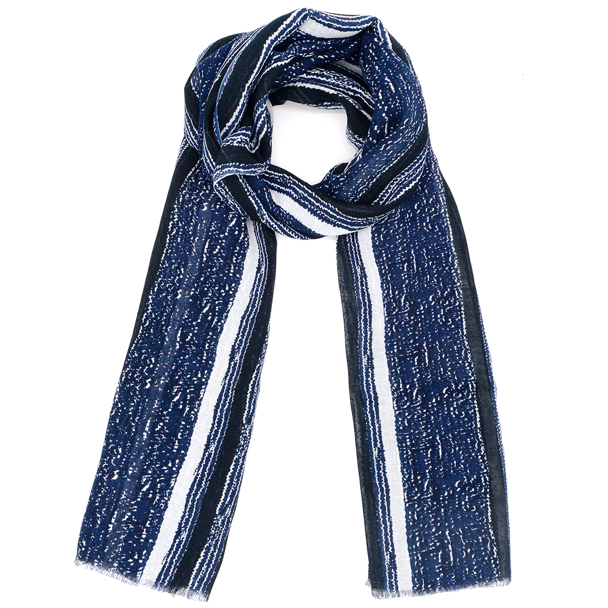 Indigo stripe cotton scarf