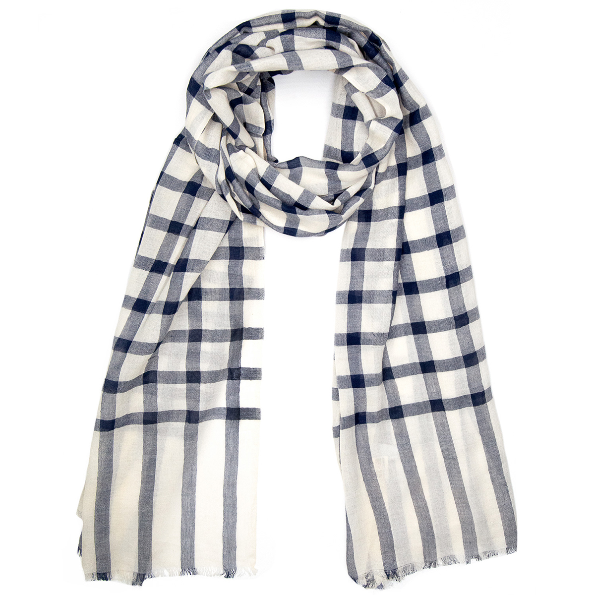 Indigo check cotton scarf