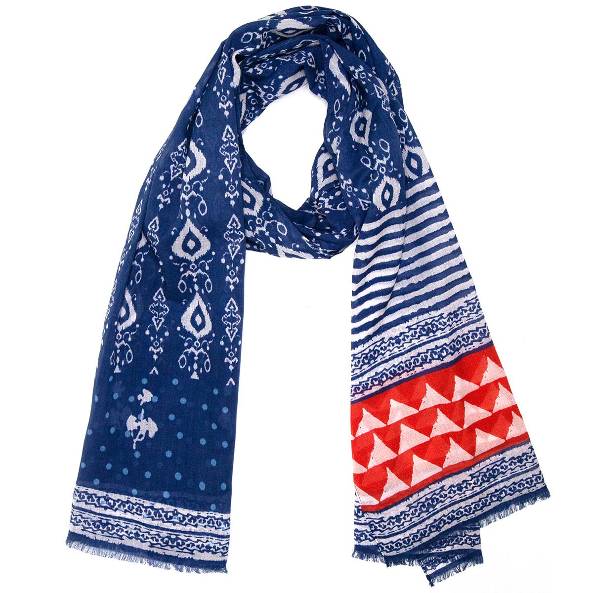 Indigo tile cotton scarf