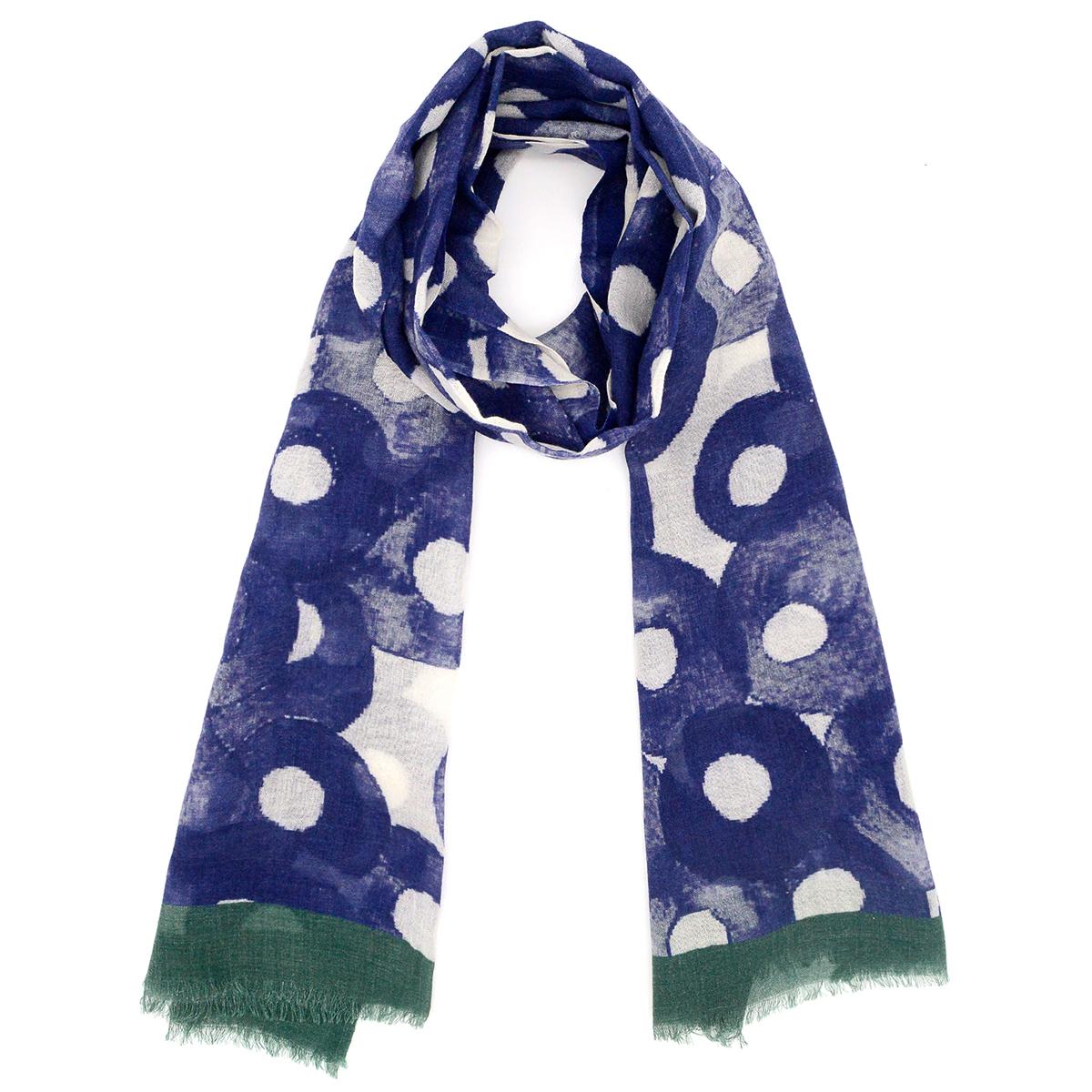 Indigo circles wool scarf