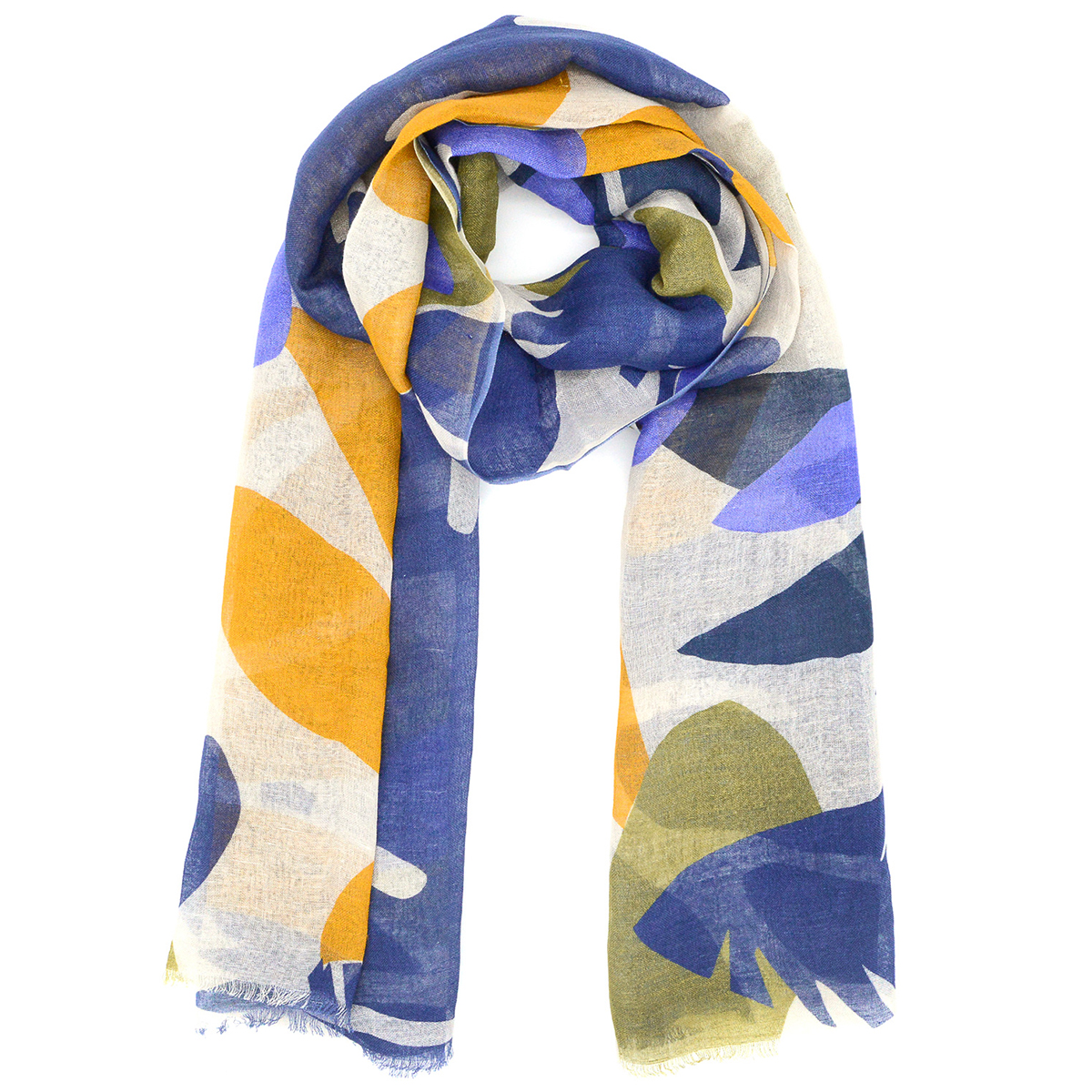 Yellow and blue leaves scarf
