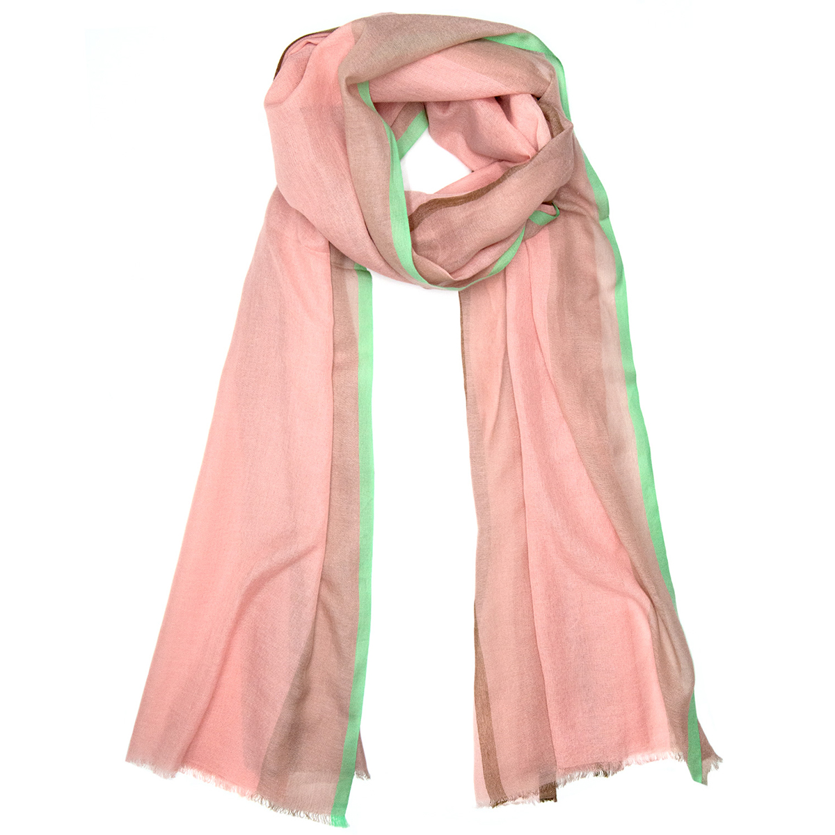 Green trim coral scarf