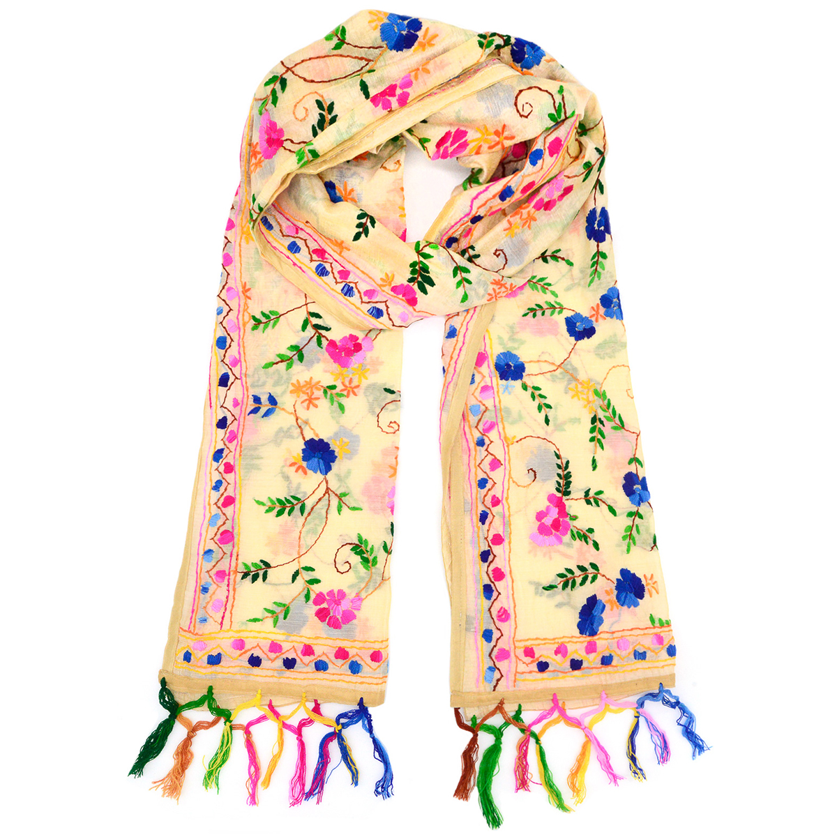 Fringed floral stole