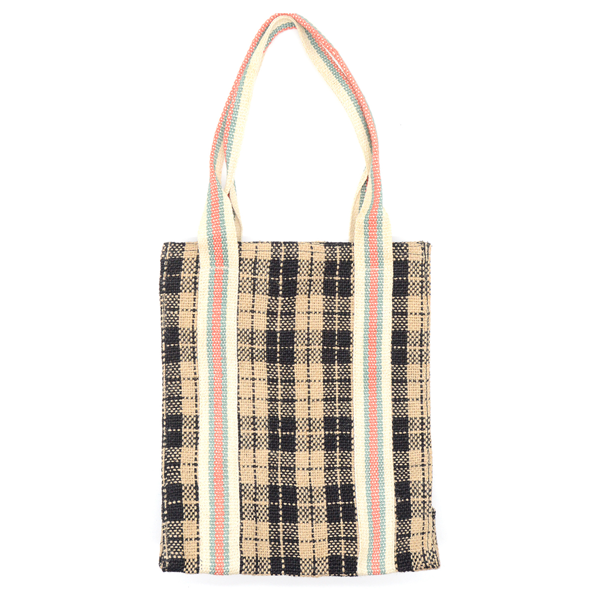 Black check jute shopper bag by Maison Bengal