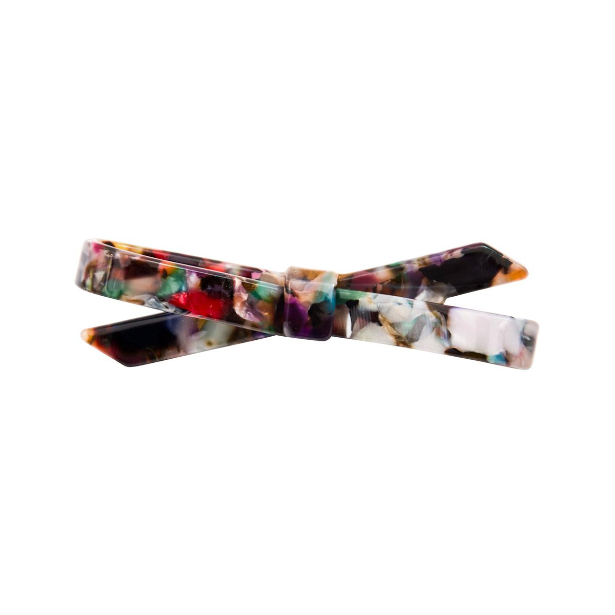 Multicoloured bow hair barrette