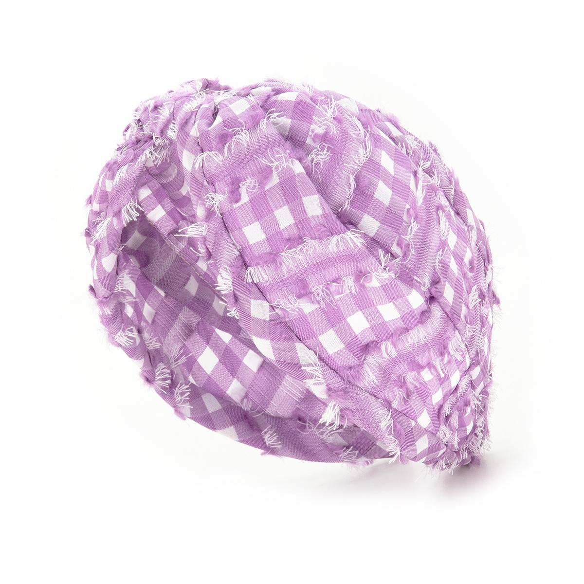 Purple check headband by Emin and Paul