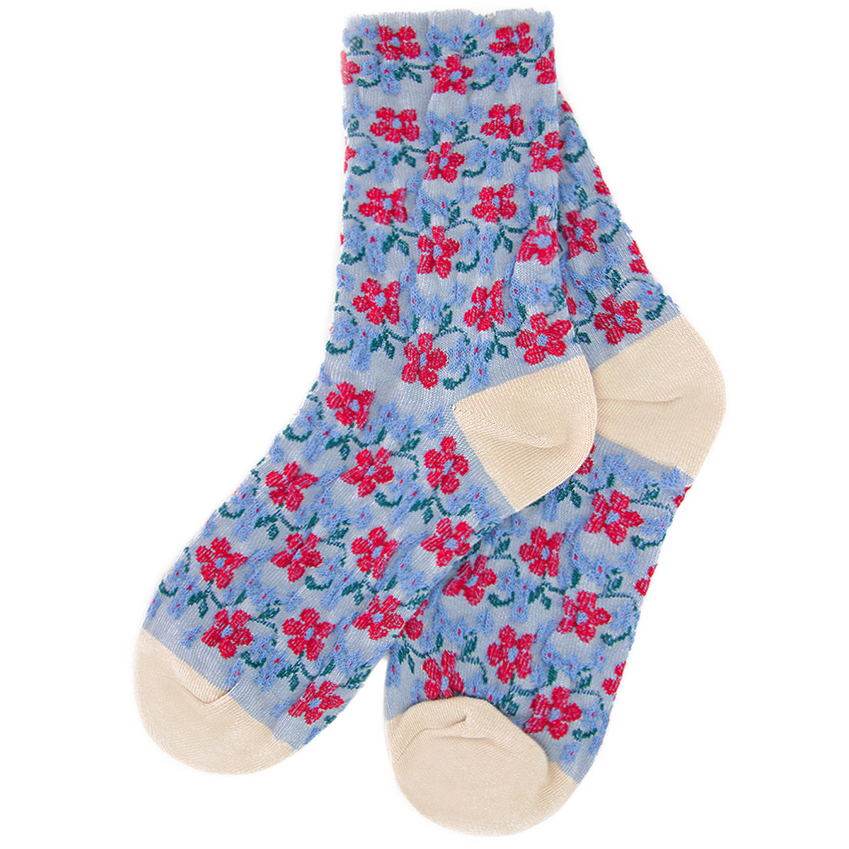 Blue and red flower socks by Emin and Paul