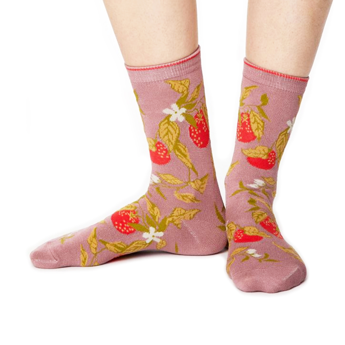 Pink floral socks by Thought Socks