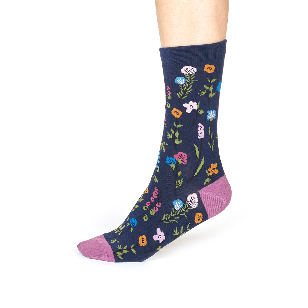 Navy floral socks by Thought Socks