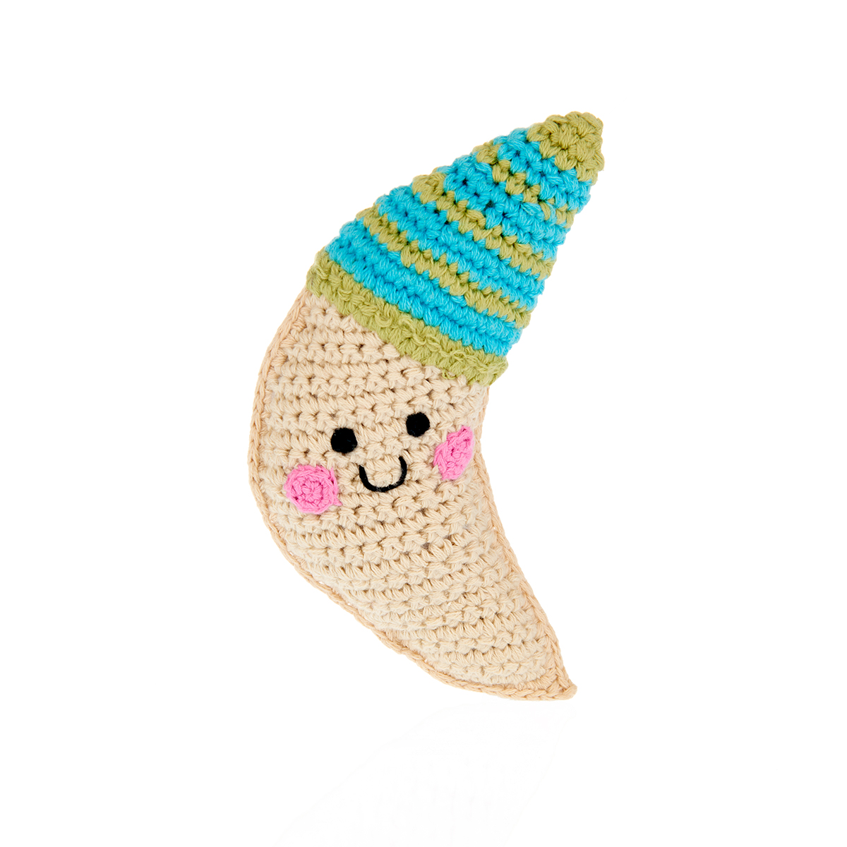 Fairtrade organic cotton moon rattle