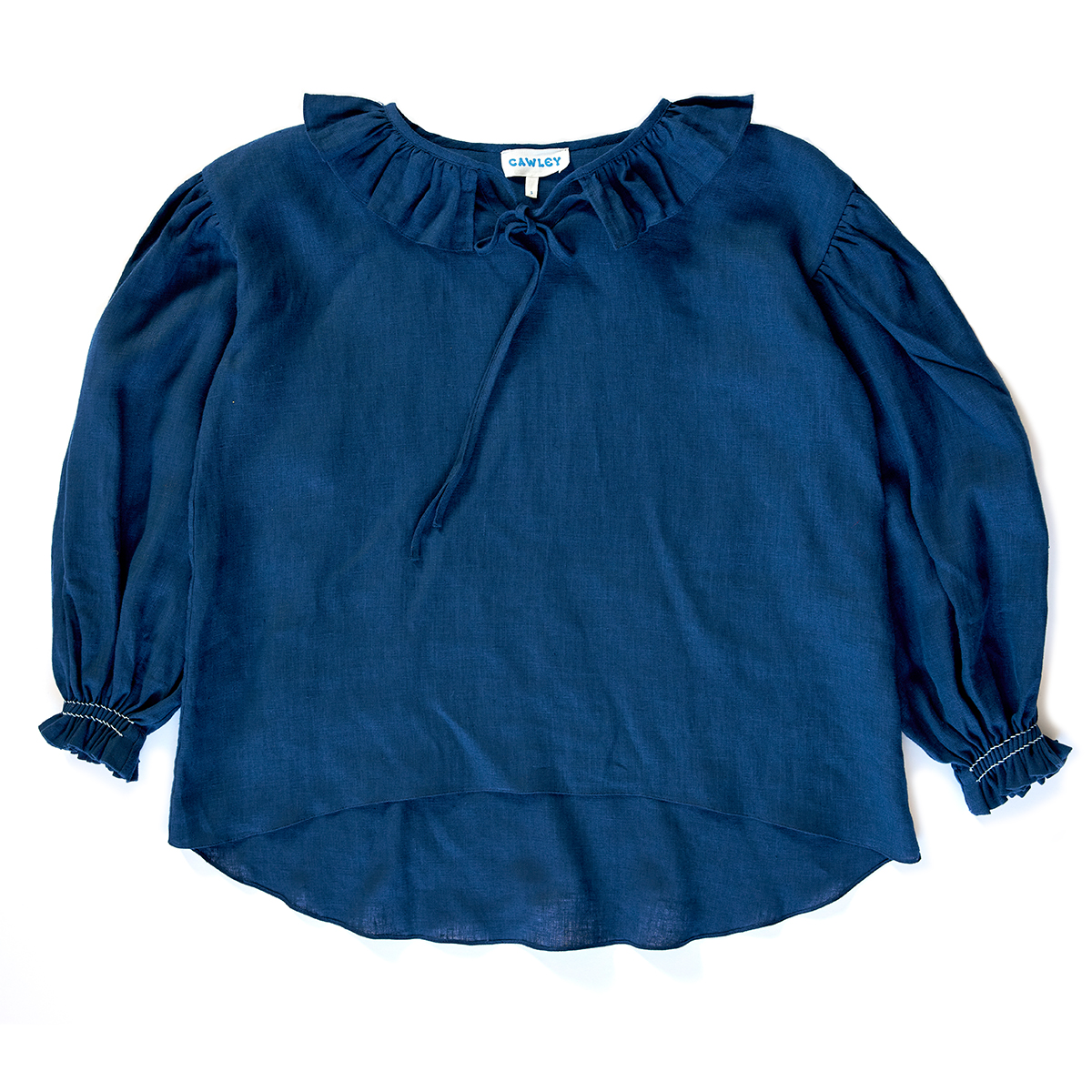 Smocked navy linen blouse by Cawley Studio
