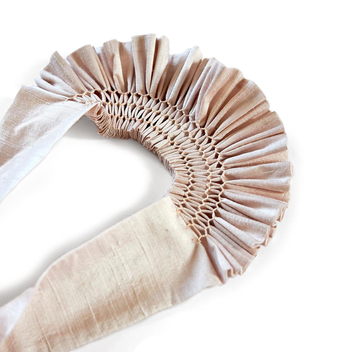 Smocked putty silk headpiece by Cawley Studio