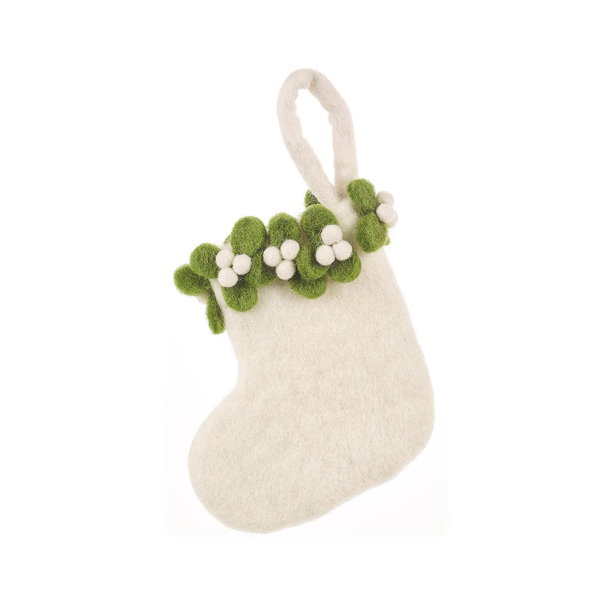 Mini mistletoe stocking Christmas decoration by Felt So Good