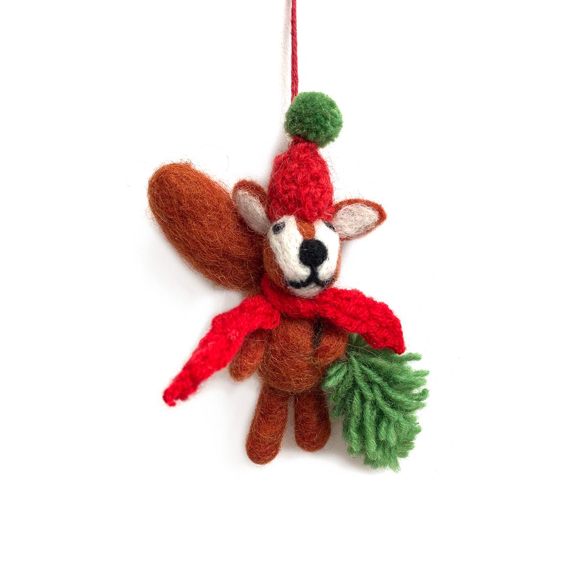 Squirrel Christmas decoration by Felt So Good