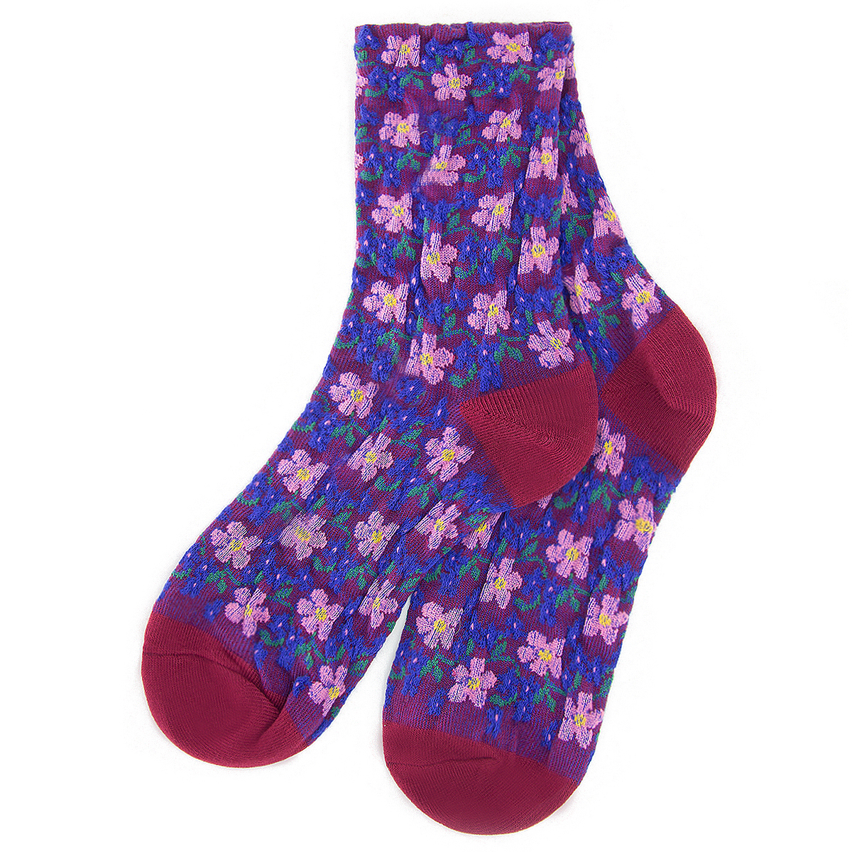 Purple and pink flower socks by Emin and Paul