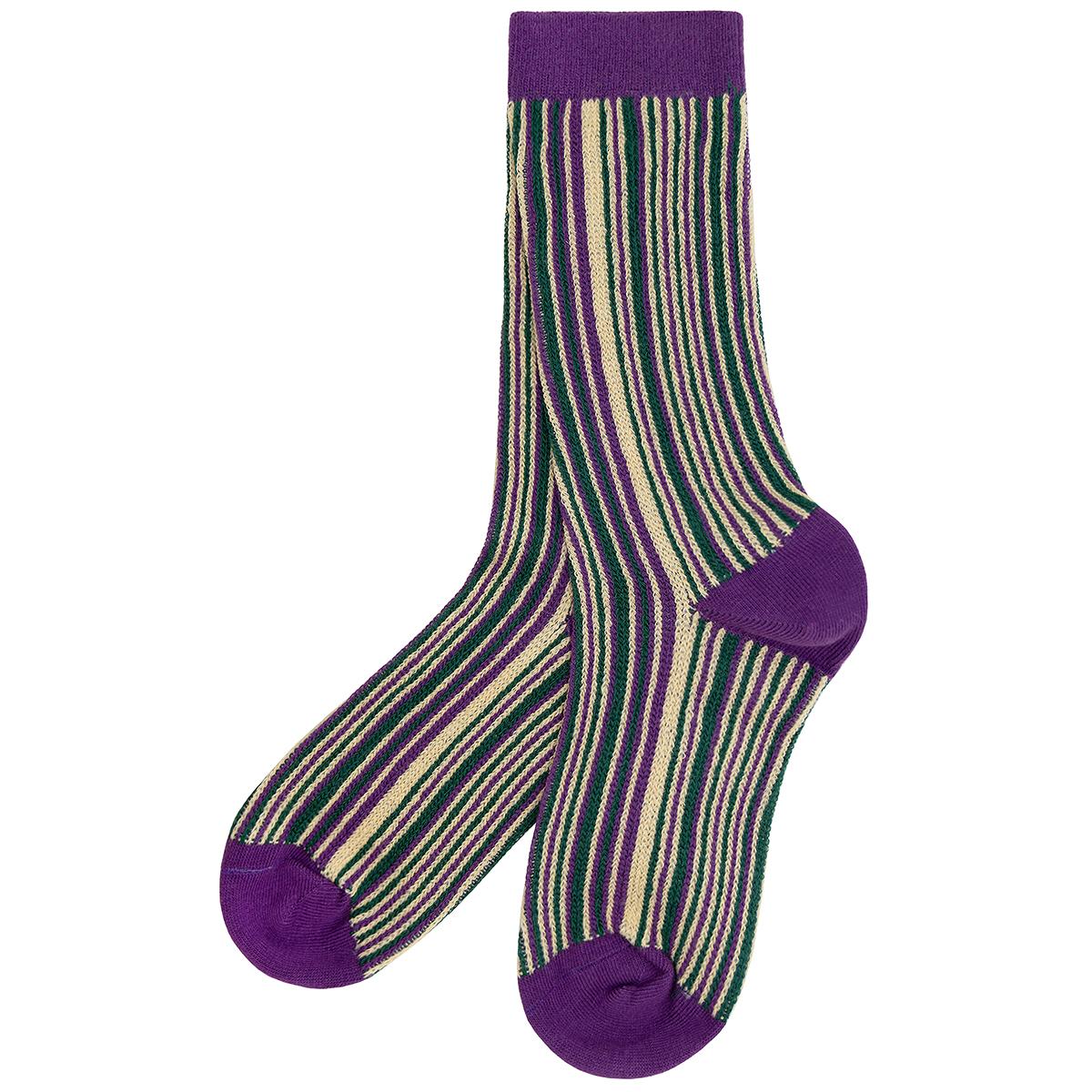 Purple and ecru stripe socks by Emin and Paul