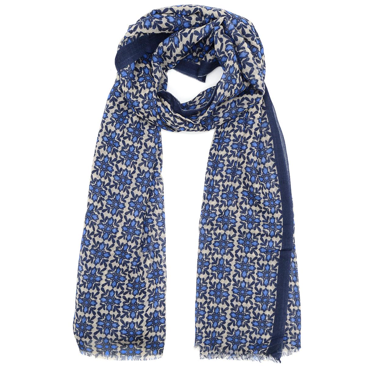 Blue tiles wool scarf