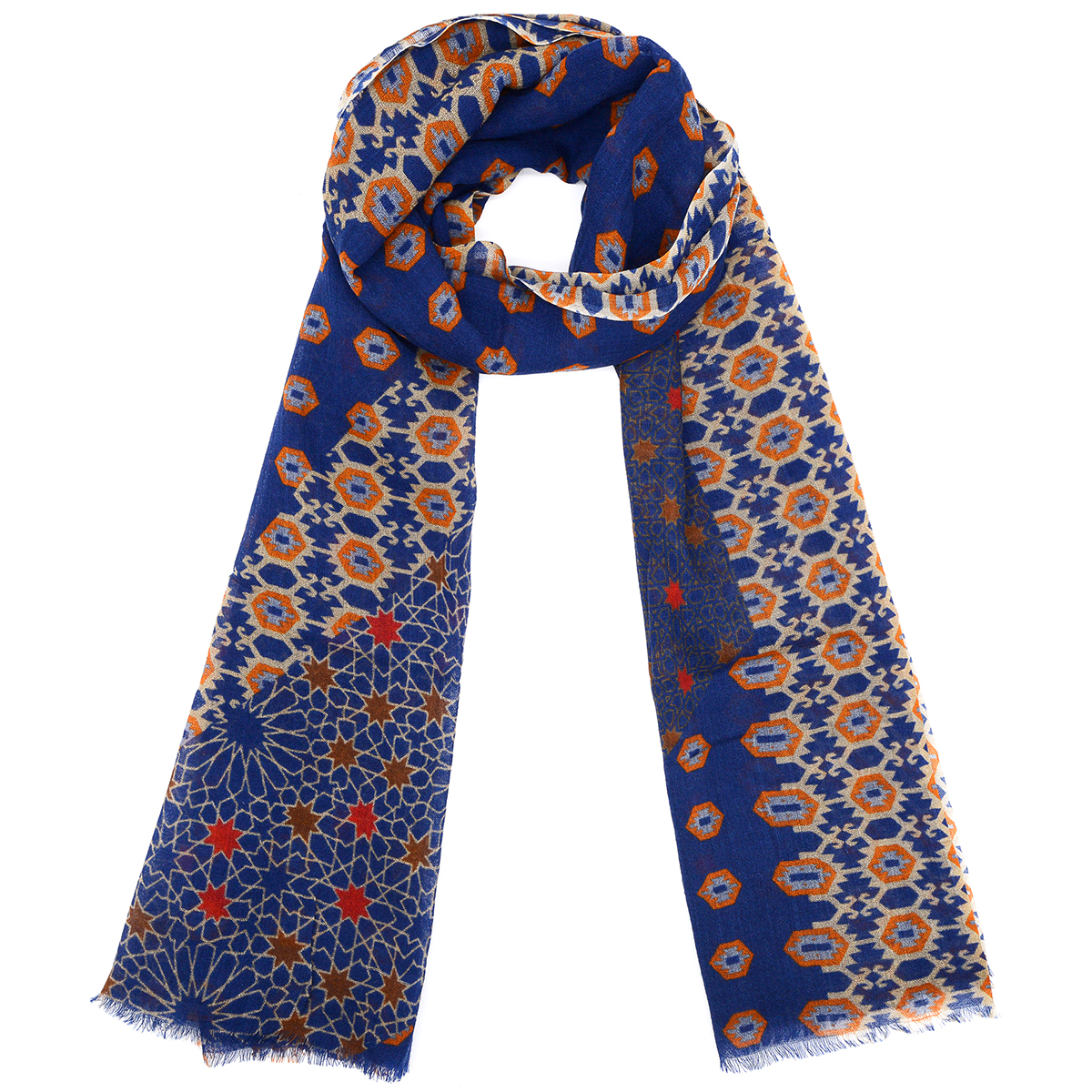 Navy and red star geometric wool scarf