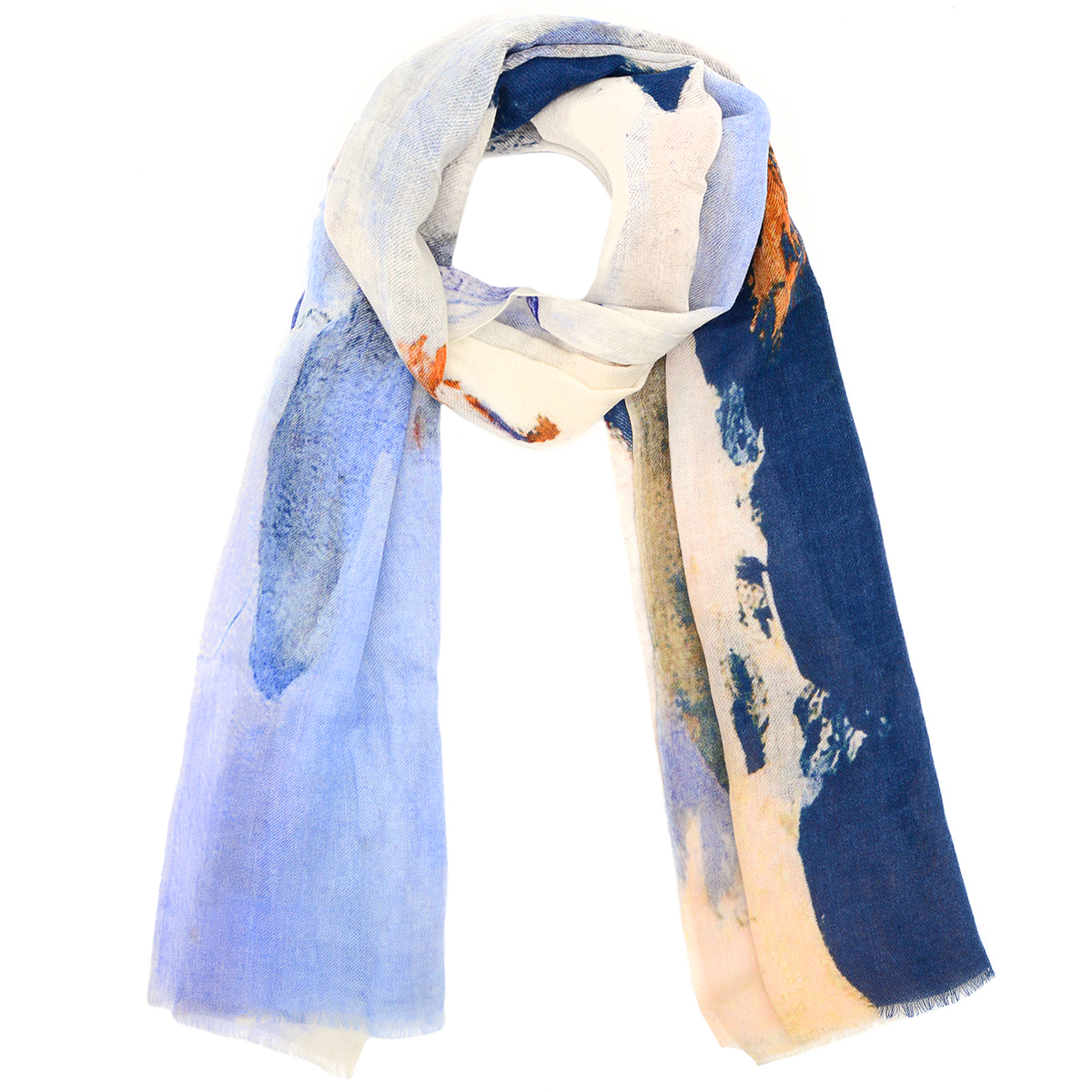 White abstract paint wool scarf