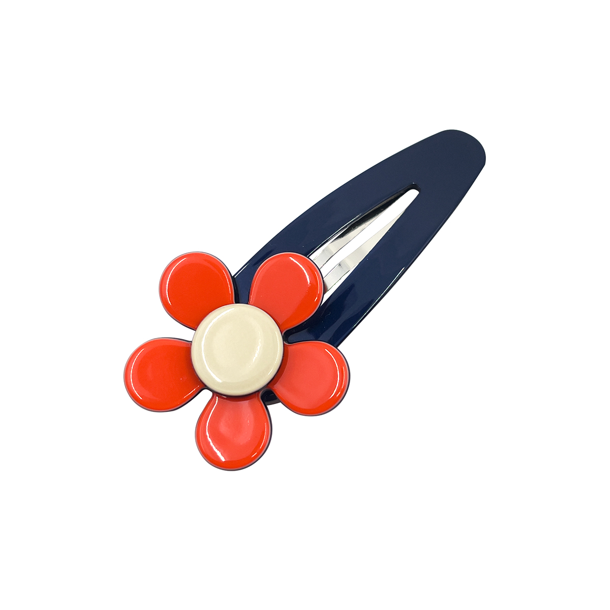 Navy and orange flower hair clip by Inky and Mole