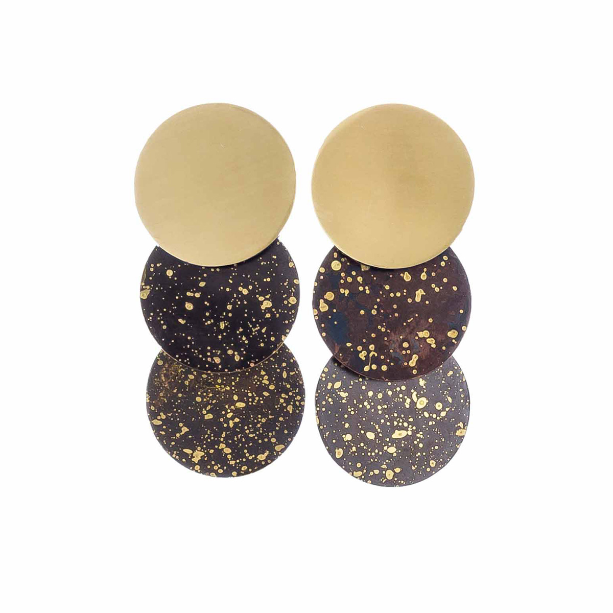 Black speck circles stud earrings by Sibilia