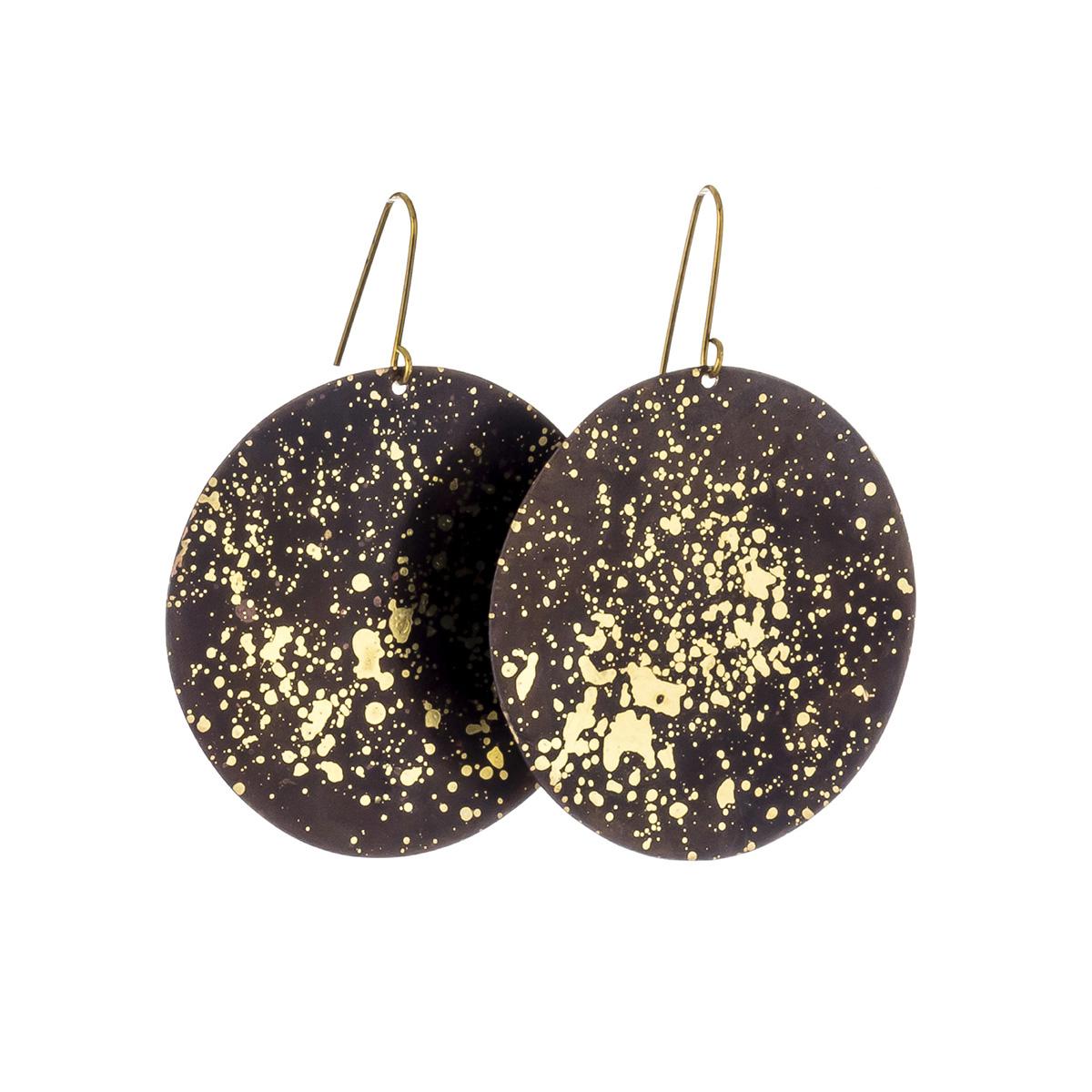 Black speck disc hook earrings by Sibilia