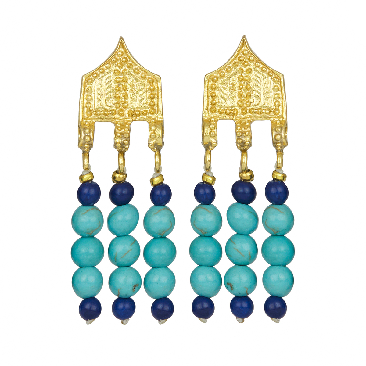 Turquoise and lapis lazuli stud earrings by Ottoman Hands
