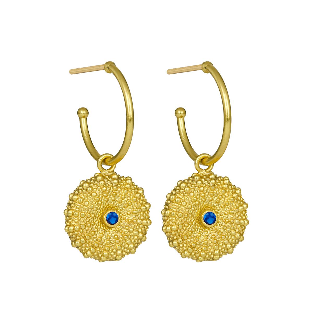 Dark blue zirconia disc stud earrings by Ottoman Hands