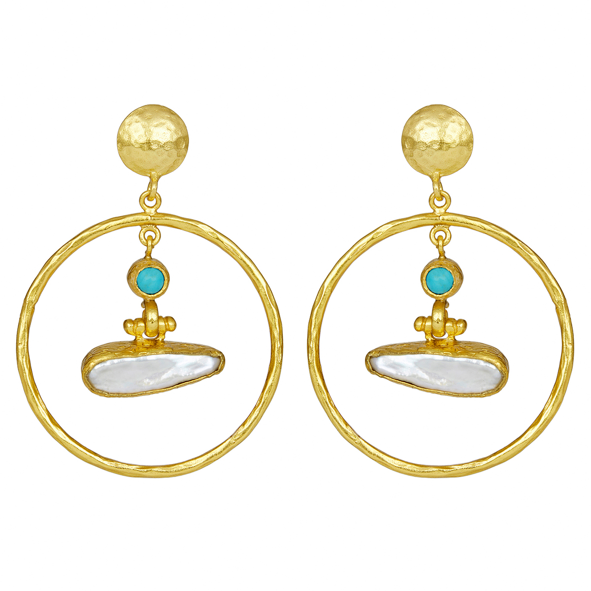 Pearl and turquoise loop stud earrings by Ottoman Hands