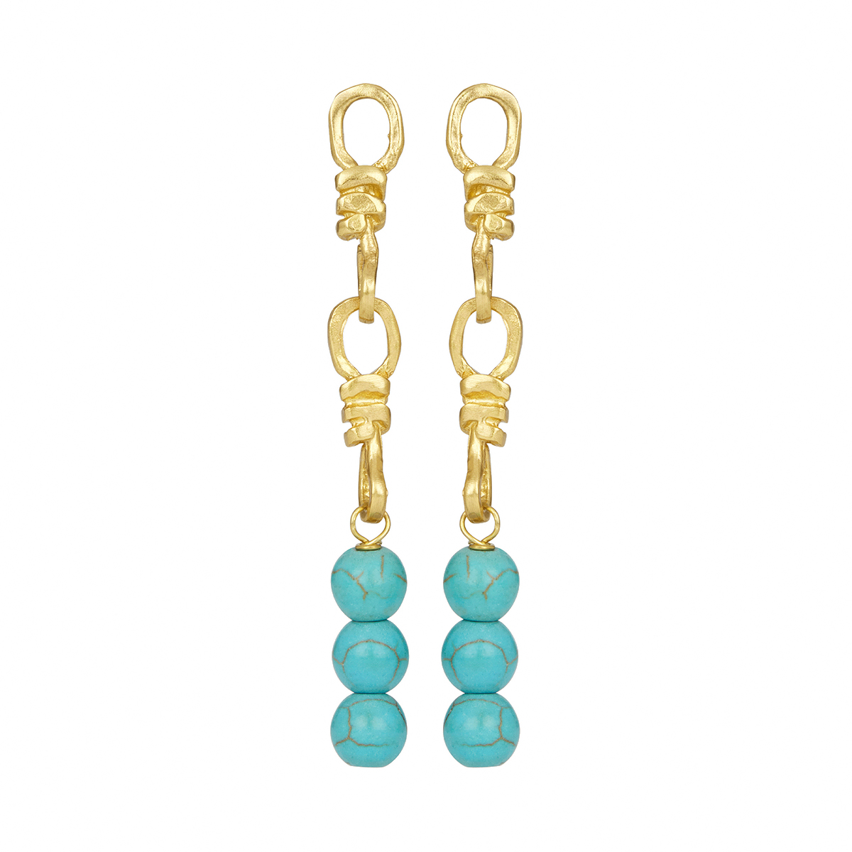 Long turquoise stud earrings by Ottoman Hands