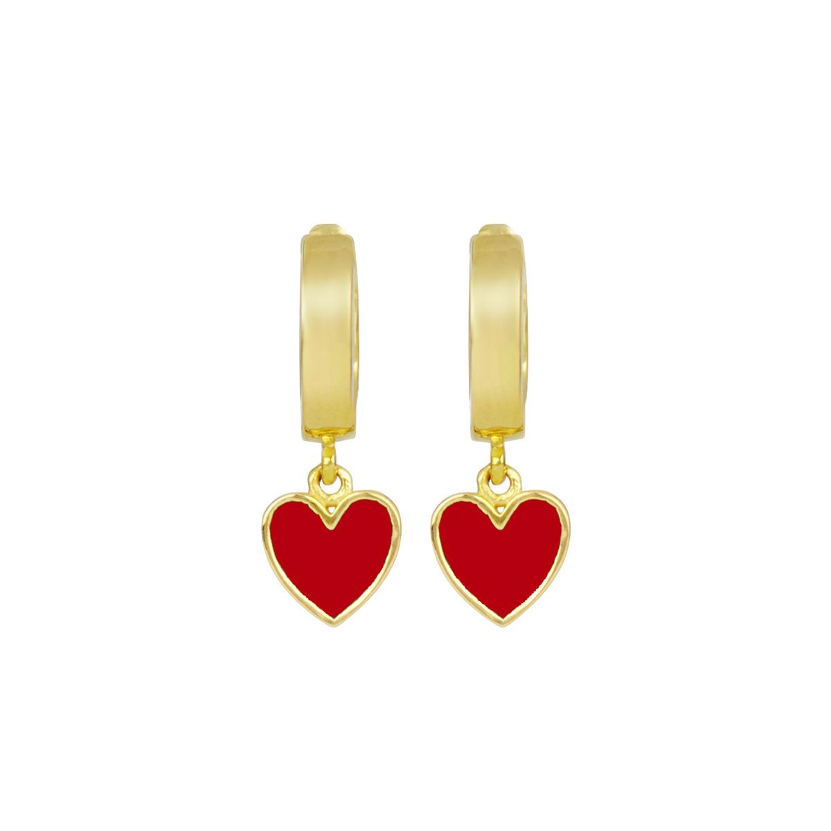 Red heart hoop earrings by Ottoman Hands
