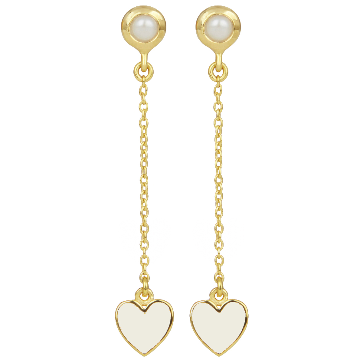 White heart and pearl long stud earrings by Ottoman Hands