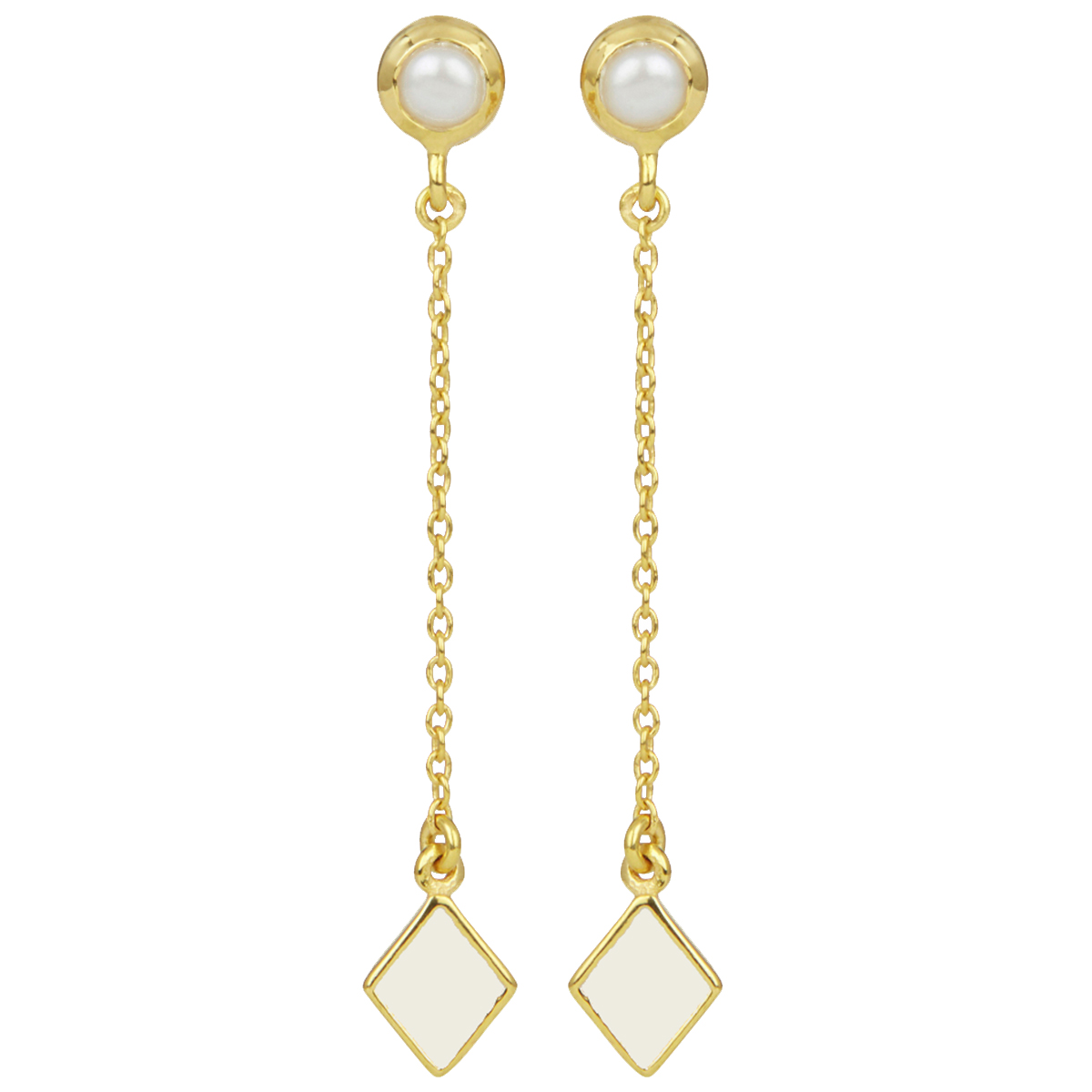 White diamond and pearl long stud earrings by Ottoman Hands