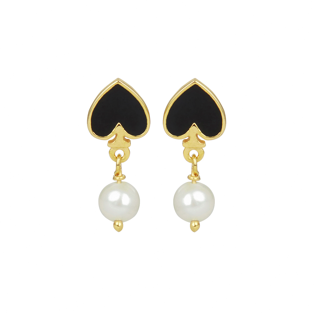 Black spade and pearl stud earrings by Ottoman Hands