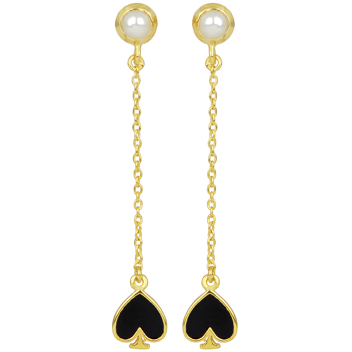 Black spade and pearl long stud earrings by Ottoman Hands