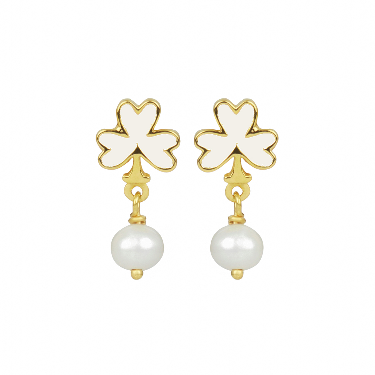 White club and pearl stud earrings by Ottoman Hands